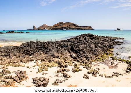 Pacific ocean and the  Bartalome Island, Galapagos Islands, Ecuador - stock photo