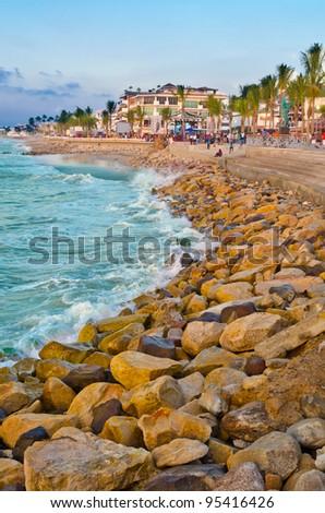 Pacific ocean at sunset in Puerto Vallarta, Mexico - stock photo