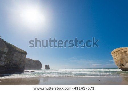 Pacific ocean coast from Tunnel beach, New Zealand