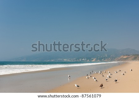 Pacific Ocean coast in Santa Monica; GPS information is in the file - stock photo