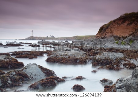 Pacific ocean coast near Pigeon Point Lighthouse. - stock photo