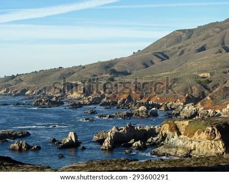 Pacific Ocean Coastline in Big Sur California - stock photo