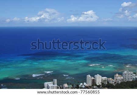 Pacific Ocean view from Diamond Head, Honolulu, Hawaii - stock photo