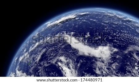 Pacific ocean viewed from space with atmosphere and clouds. Elements of this image furnished by NASA. - stock photo
