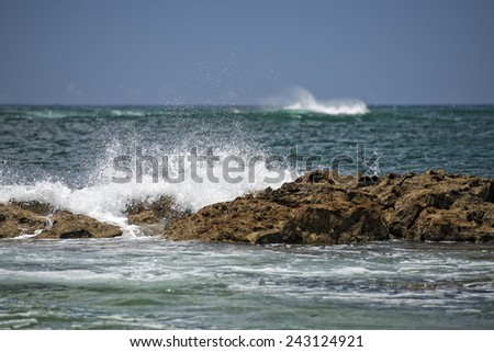 pacific ocean waves on the shore in Hawaii - stock photo