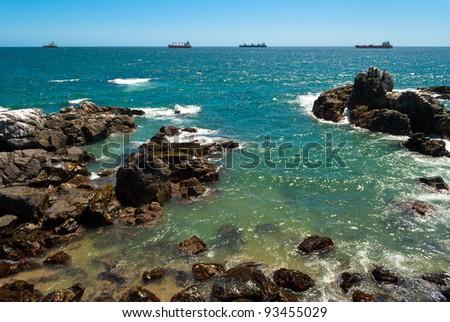 Pacific rocky coast in Vi?a del Mar, Chile - stock photo