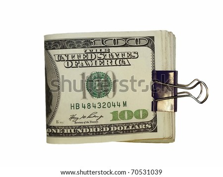 Pack $100 dollar bills and paper clip isolate on white background