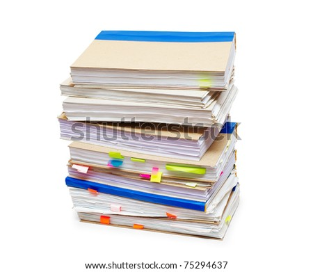 Pack of account books isolated on a white background - stock photo