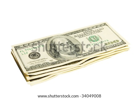 Pack of American money on a white background
