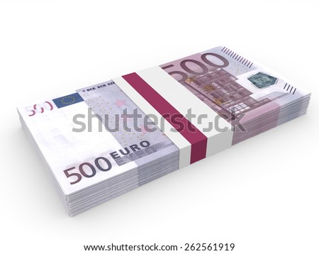 Pack of banknotes. Five hundred euros. 3D illustration. - stock photo