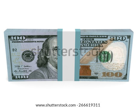 Pack of banknotes. New one hundred dollars. 3D illustration. - stock photo