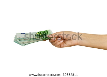 Pack of banknotes of denomination 100 euro in a hand of the woman (isolated from background)
