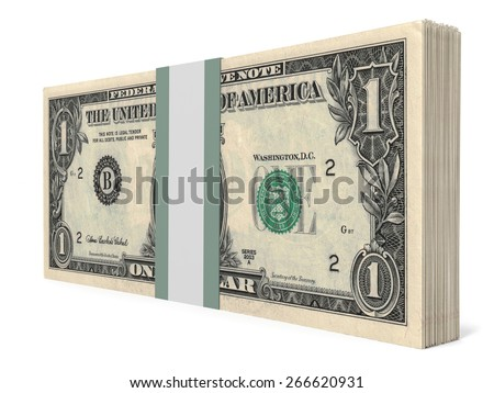 Pack of banknotes. One dollar. 3D illustration. - stock photo