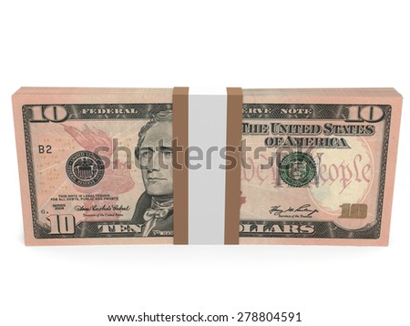 Pack of banknotes. Ten dollars. 3D illustration.