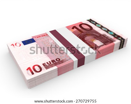 Pack of banknotes. Ten euros. 3D illustration. - stock photo