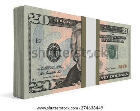 Pack of banknotes. Twenty  dollars. 3D illustration. - stock photo
