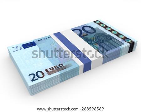 Pack of banknotes. Twenty euros. 3D illustration. - stock photo