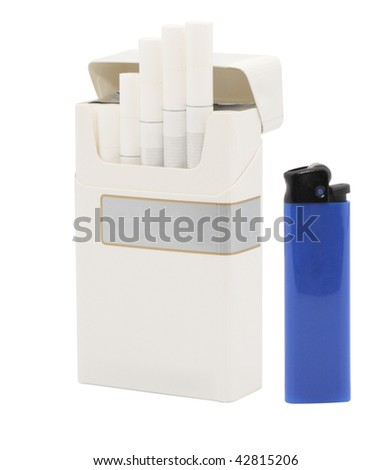 Pack of cigarettes and lighter. Isolated object. - stock photo