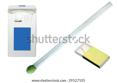 pack of cigarettes and matches under the white background - stock photo