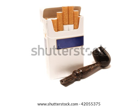 Pack of cigarettes and pipe on a white background - stock photo