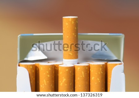 Pack of cigarettes, close-up - stock photo