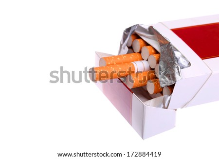 Pack of Cigarettes isolated on white - stock photo
