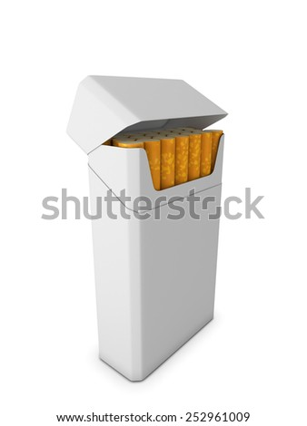 Pack of cigarettes isolated on white background. 3d illustration. - stock photo