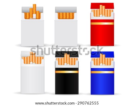 Pack of cigarettes. Set of colored box. isolated on white background. Raster version - stock photo