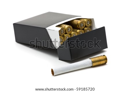 Pack of cigarettes with bullet casing filters - smoking kills concept