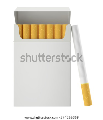 Pack of cigarettes with cigarettes inside isolated on white background. 3d illustration - stock photo