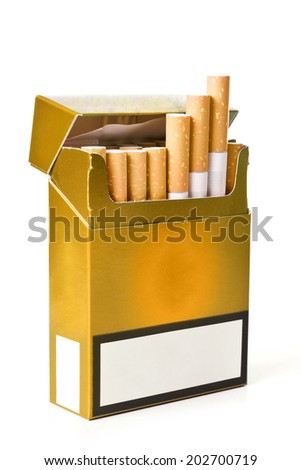 Pack of cigarettes with cigarettes sticking out - stock photo