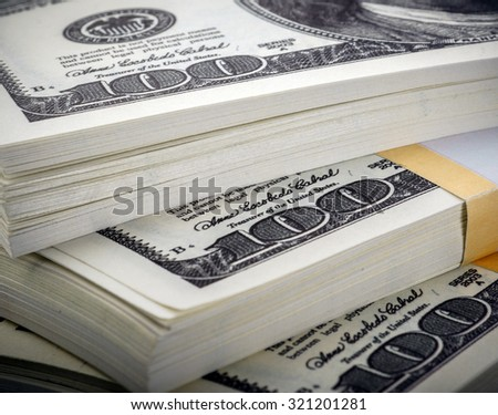 pack of dollars close up - stock photo