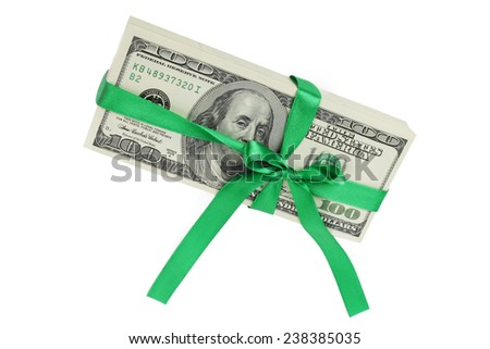 Pack of dollars in a green ribbon - stock photo