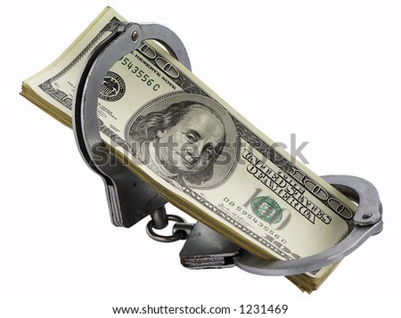 Pack of dollars in handcuffs on a white background