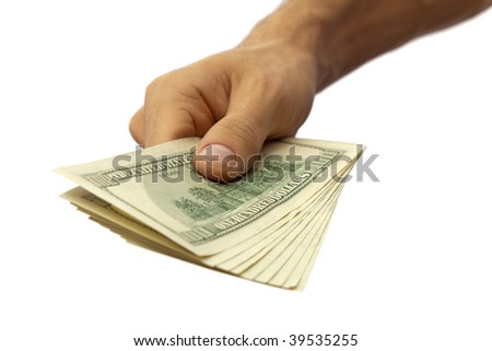 Pack of dollars in the men's hand. Isolated on white.