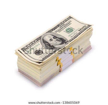 pack of dollars isolated on a white background - stock photo