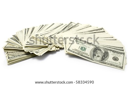 Pack of dollars isolated  on white background