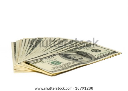 pack of dollars of the USA on a white background