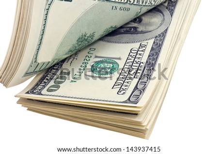 pack of dollars on white background - stock photo