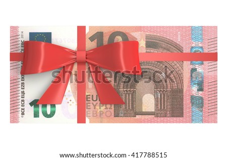 Pack of 10 Euro banknotes with red bow, gift concept. 3D rendering - stock photo