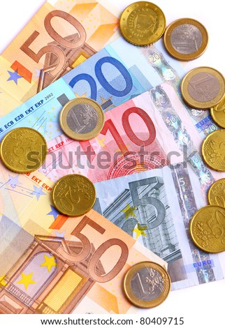 Pack of european currency, banknotes and coins