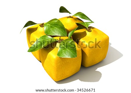 Pack of four cubic lemons - stock photo