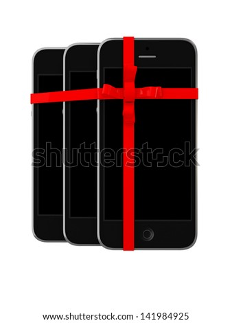 Pack of Gift Mobile phones Isolated on White background