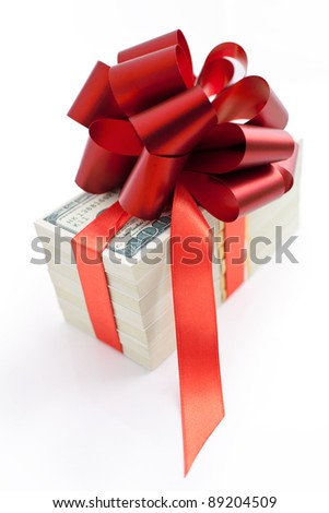 Pack of money as a gift isolated on white background - stock photo