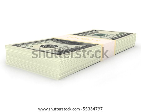 Pack of money. 3d rendered image