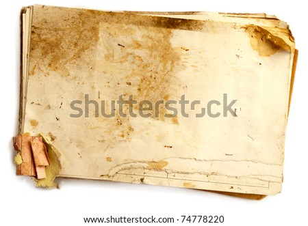 Pack of natural old document isolated on white. - stock photo