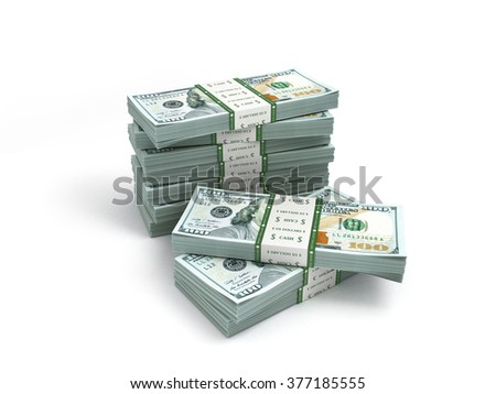 pack of new dollar bills isolated on white - stock photo