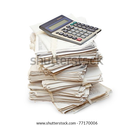 Pack of official papers with the calculator are isolated on the white - stock photo