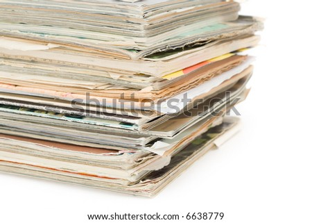 Pack of old magazines - stock photo