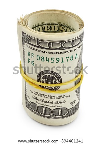 Pack of one hundred dollars isolated on white background